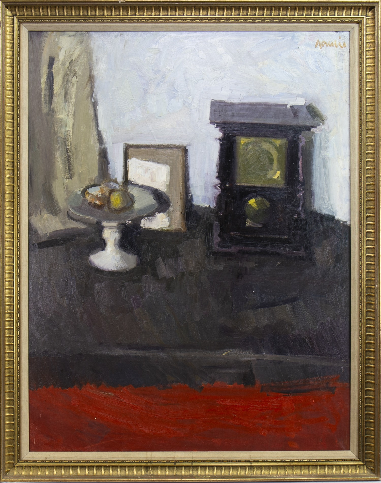 Lot 59 - FRUIT AND CLOCK STILL LIFE, AN OIL BY ALEXANDER GOUDIE
