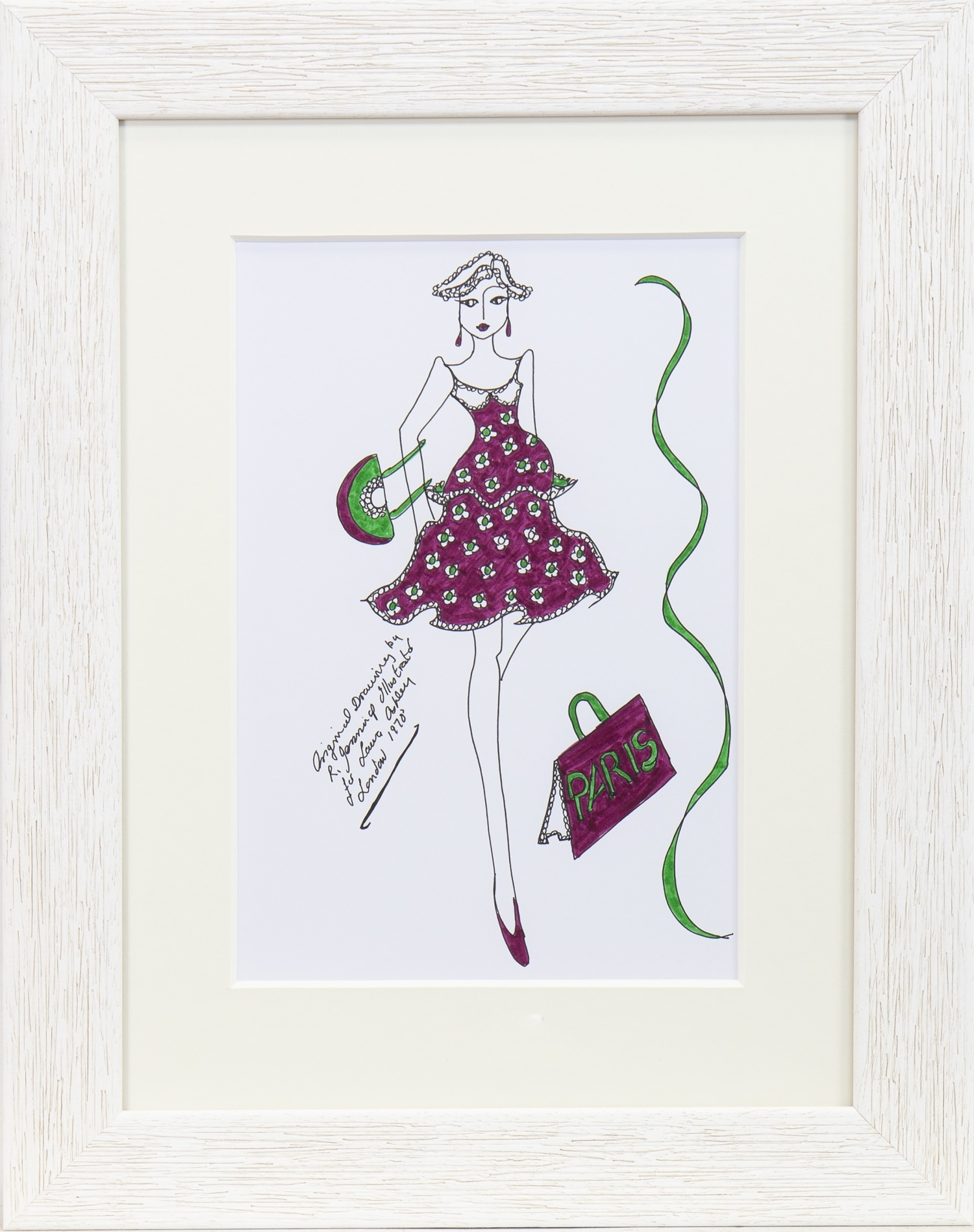 Lot 38 - ORIGINAL ILLUSTRATION OF DESIGNS FOR LAURA ASHLEY, BY ROZ JENNINGS