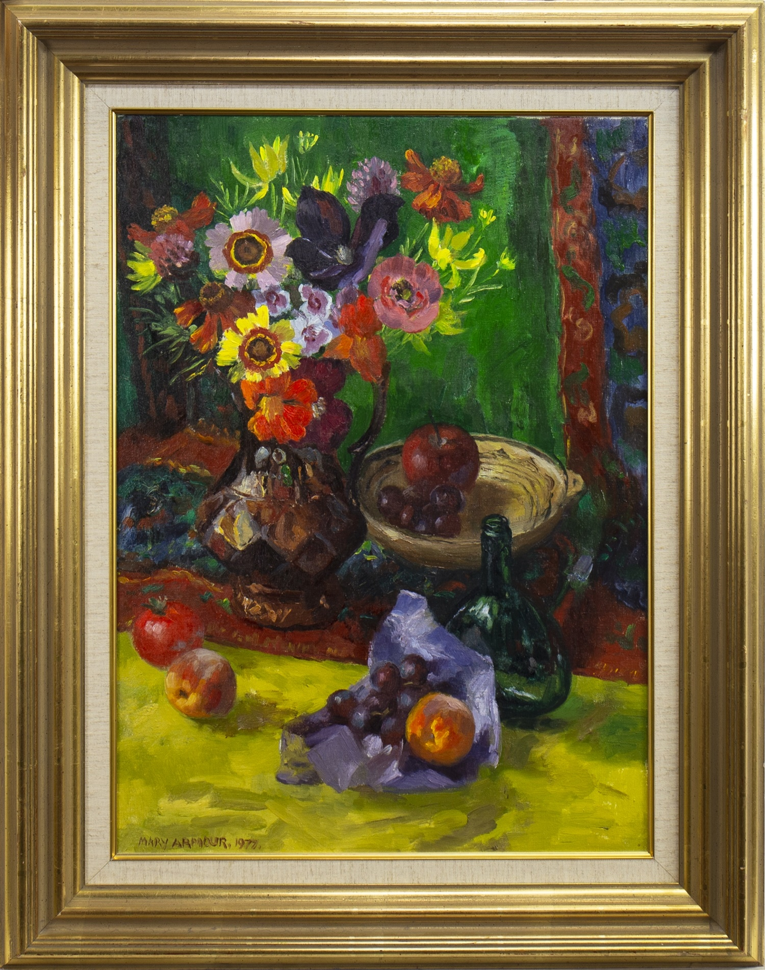 Lot 54 - STILL LIFE WITH GREEN CLOTH, AN OIL BY MARY ARMOUR
