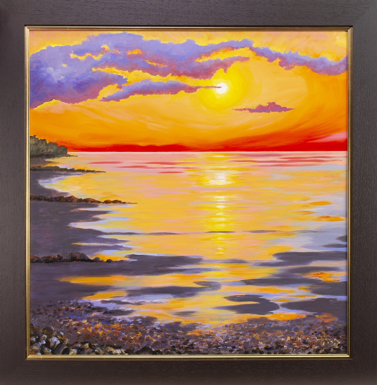 Lot 12 - BRIGHT SUNSET, AN OIL BY SANDRA FRANCIS