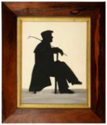 Lot 239 - ENGLISH PROFILIST, SILHOUETTE OF LORD BYRON seated full length, cut paper and grey wash, 21.5 x
