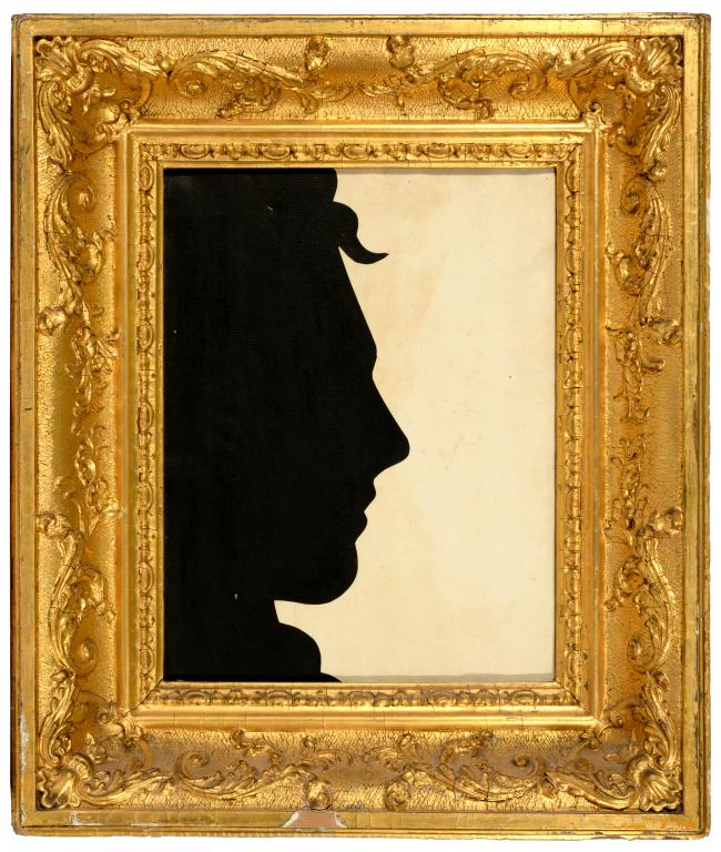 Lot 240 - ENGLISH PROFILIST, EARLY 19TH C LIFE SIZE SILHOUETTE OF THE HEAD OF LORD BYRON cut paper, 30 x 23cm,