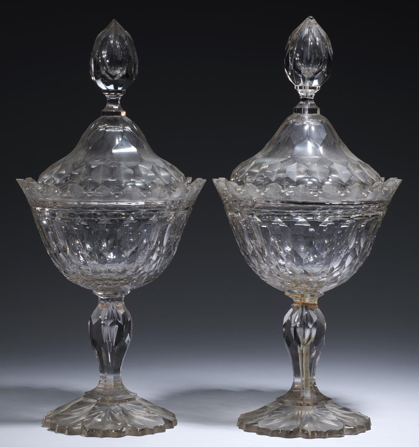 Lot 358 - A PAIR OF VICTORIAN HEXAGON CUT GLASS SWEETMEAT VASES AND COVERS, LATE 19TH C 39cm h Knop and