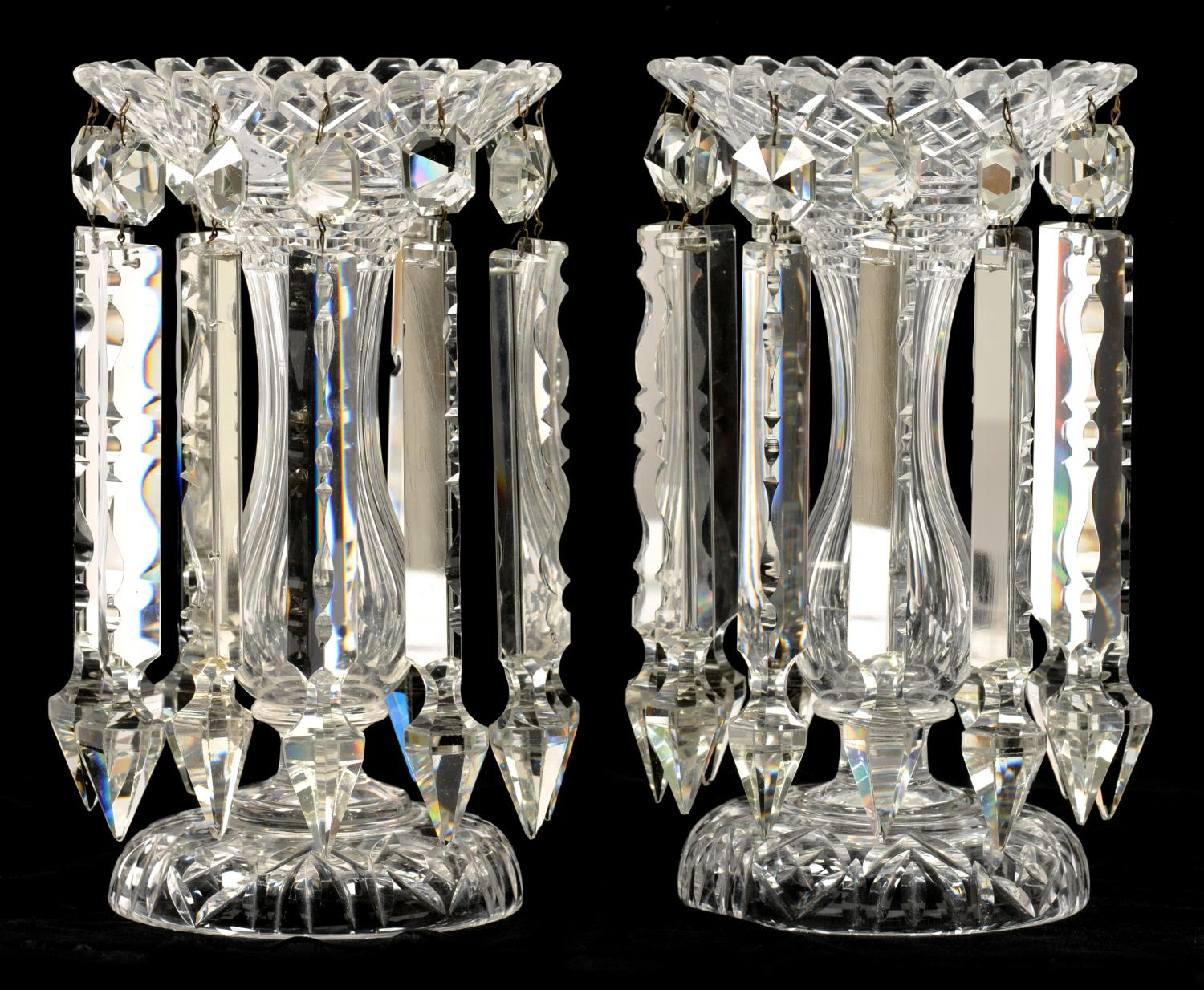 Lot 379A - A PAIR OF VICTORIAN CUT GLASS LUSTRES, LATE 19TH C hung with prismatic cut beads and drops, 28cm