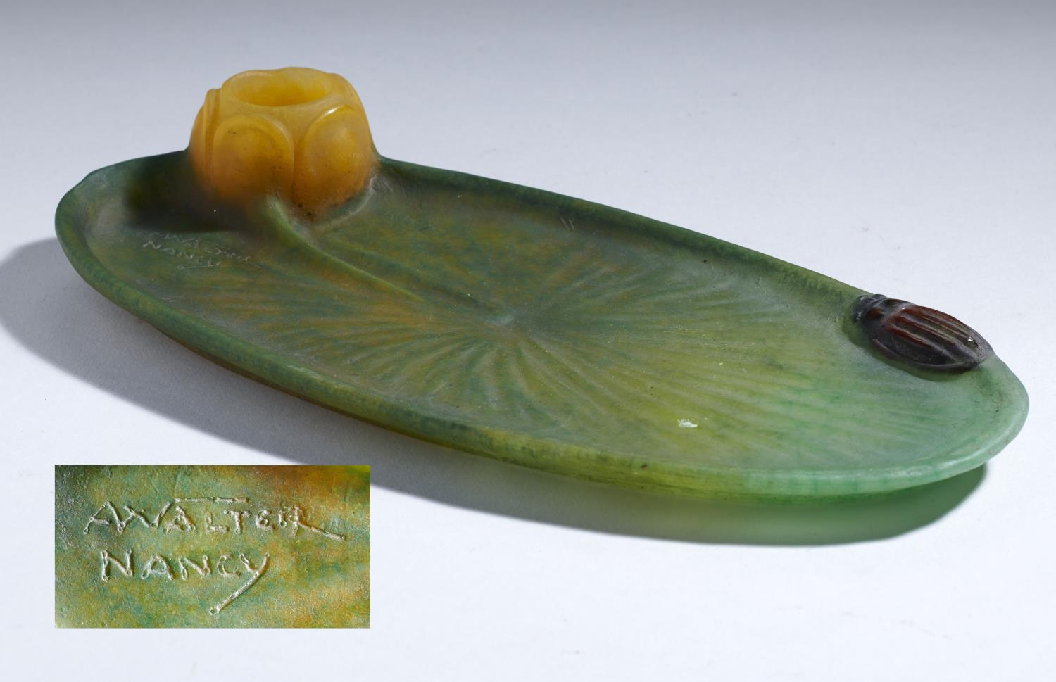 Lot 218 - AN AMALRIC WALTER PATE DE VERRE WATERLILY AND BEETLE TRAY, C1920 22cm l, marked A WALTER NANCY and