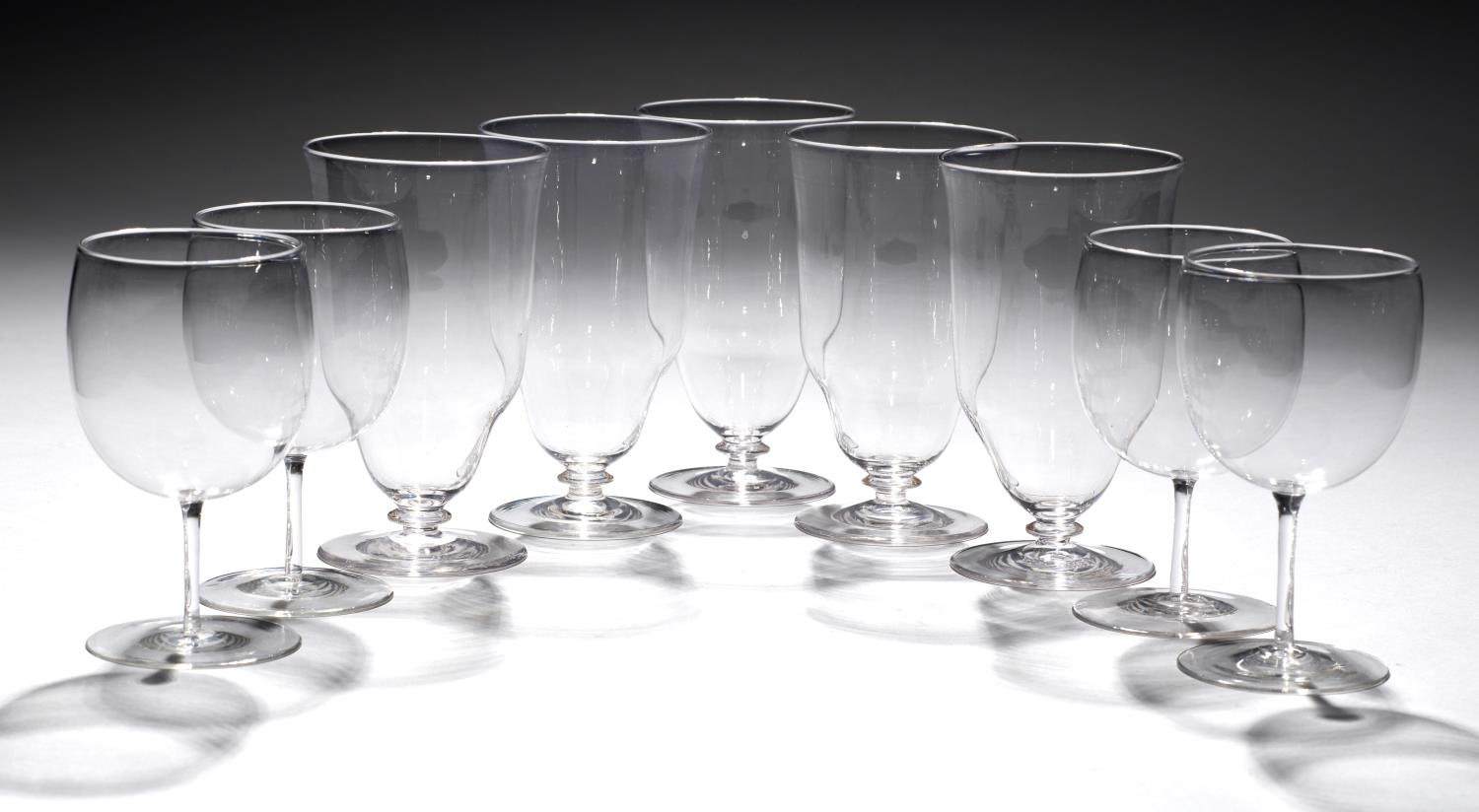 Lot 214 - A GROUP OF NINE ENGLISH DRINKING GLASS, POSSIBLY JAMES POWELL, C1900 12 and 13cm h Good condition