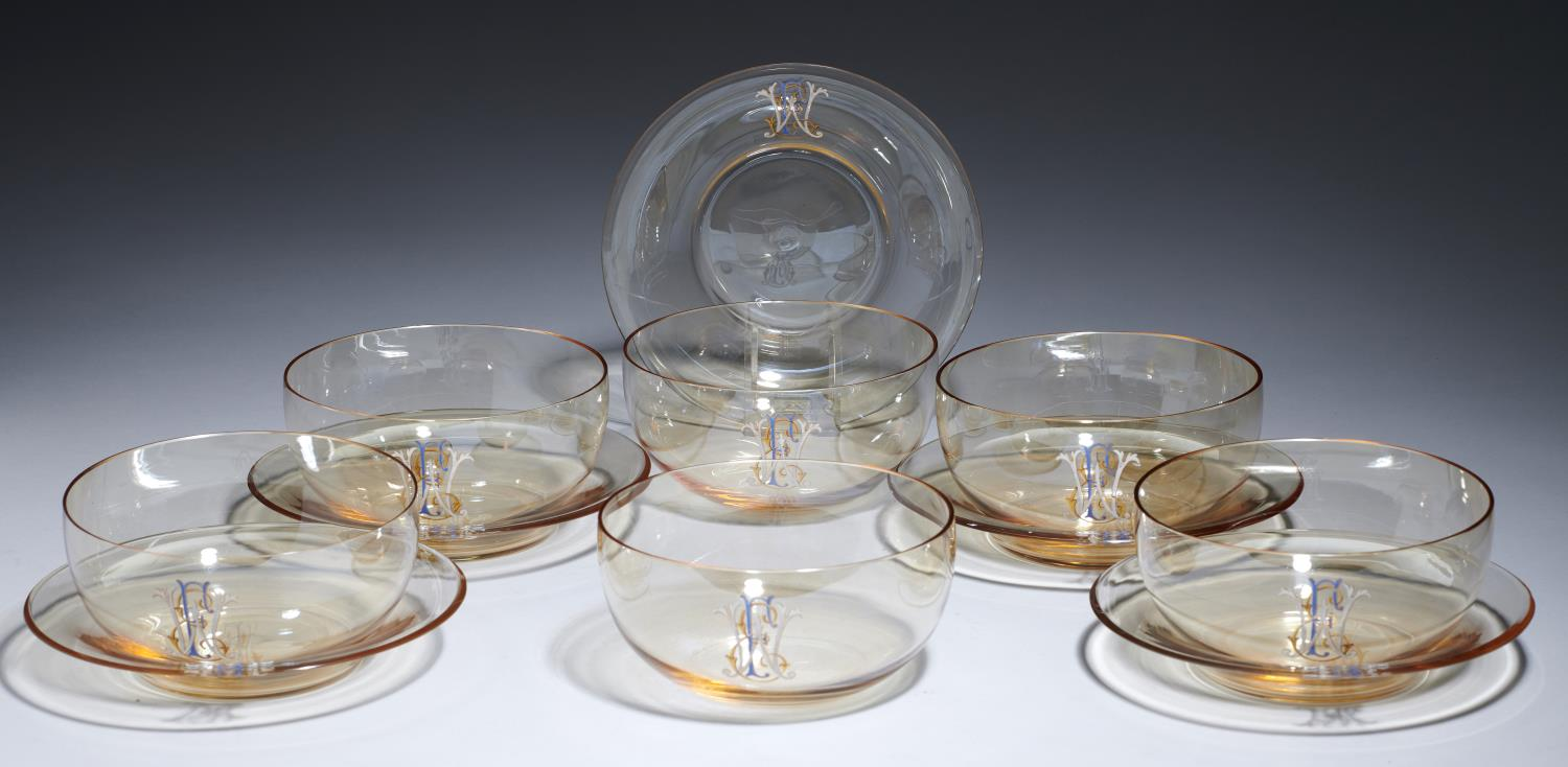 Lot 377 - A SET OF SIX CONTINENTAL GLASS FINGER BOWLS AND FIVE STANDS, C1920  enamelled and gilt with a