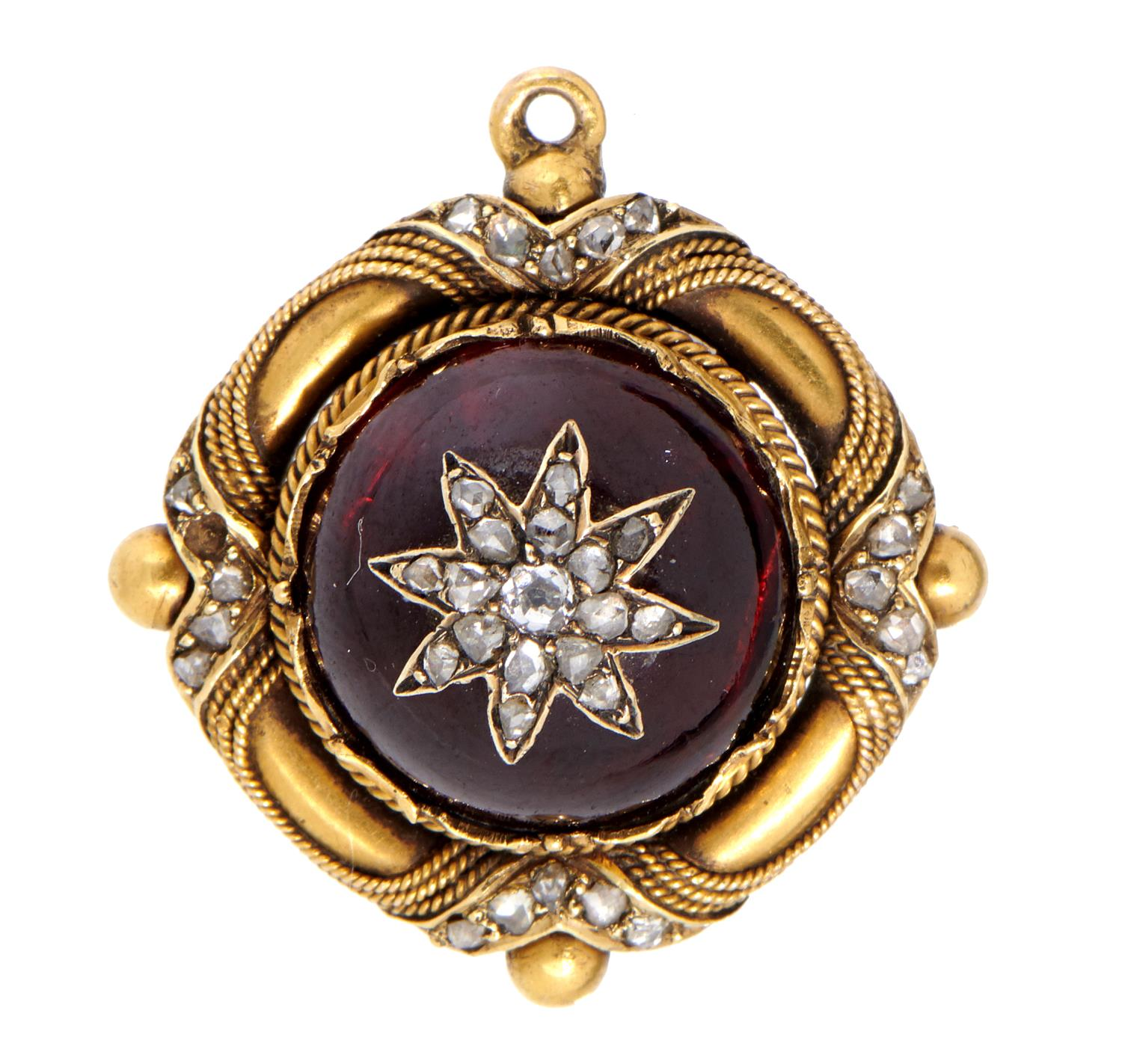 Lot 18 - A VICTORIAN DIAMOND, FOILED GARNET AND GOLD BROOCH 2cm diam, adapted from another article, 8g Good