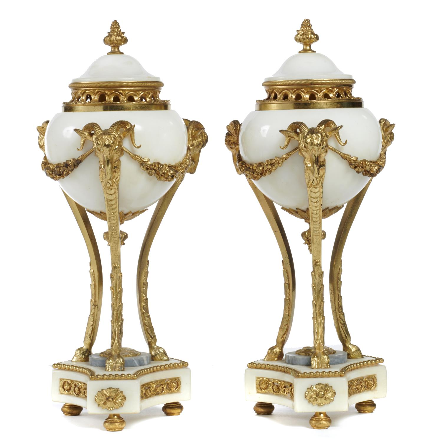 Lot 660 - A PAIR OF FRENCH NEO CLASSICAL STYLE ORMOLU MOUNTED WHITE AND GREY MARBLE PERFUME BURNERS, EARLY