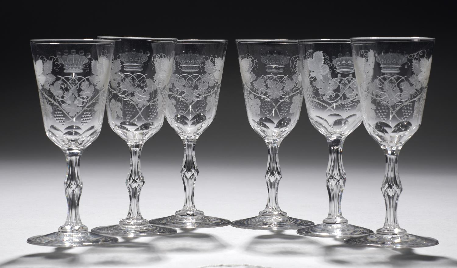 Lot 375 - A SET OF SIX ENGLISH WINE GLASSES, EARLY 20TH C engraved with a mirror monogram beneath the