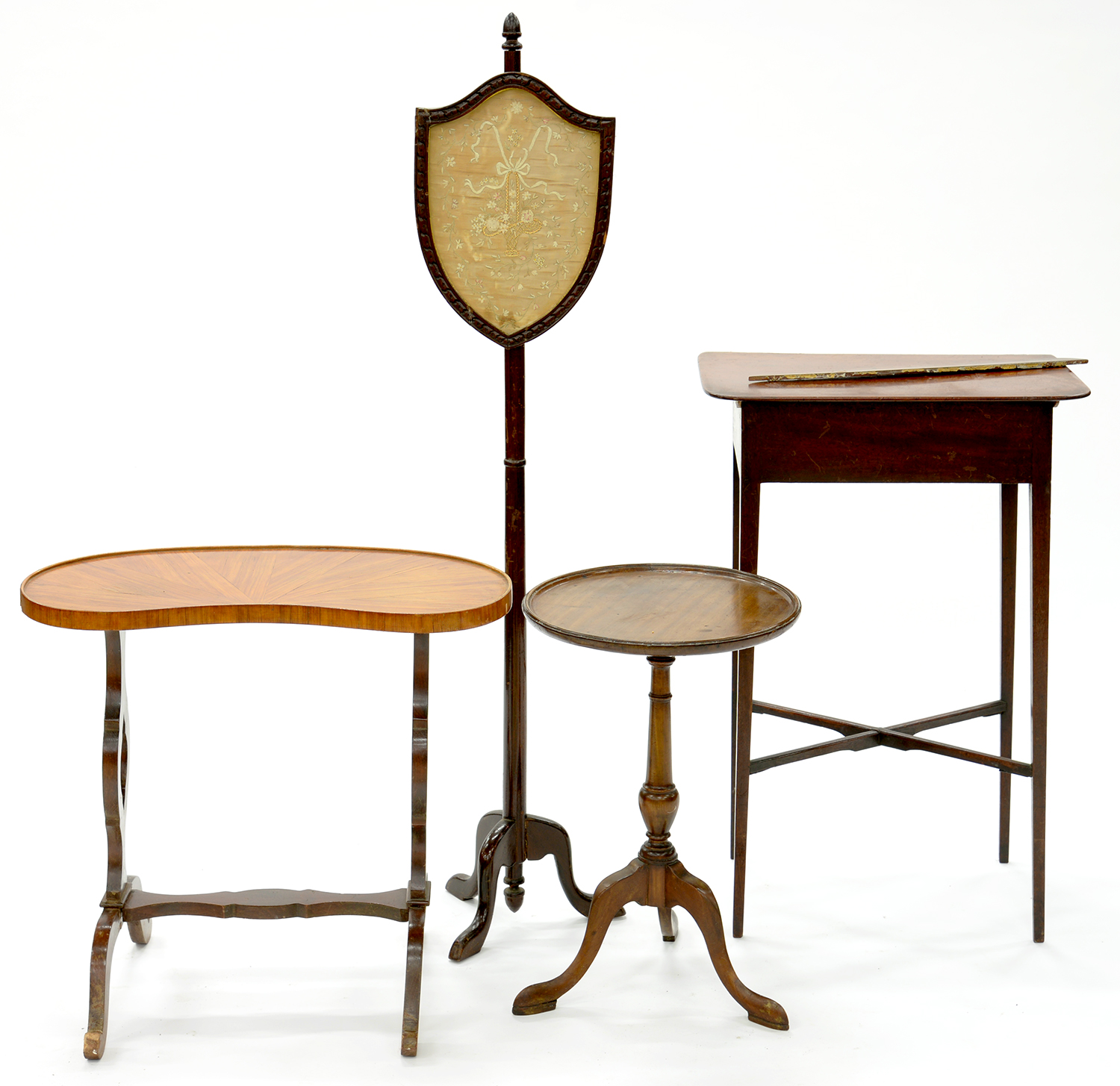 Lot 771 - A VICTORIAN MAHOGANY POLE SCREEN WITH NEEDLEWORK BANNER, KIDNEY SHAPED TABLE, TRIPOD TABLE, ETC