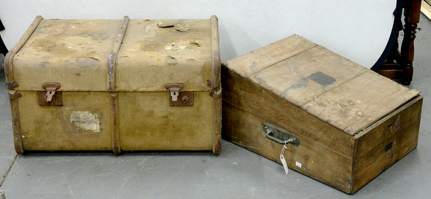 Lot 709 - A VICTORIAN BRASS MOUNTED OAK PLATE CHEST WITH SLOPING LID, 47CM W, A CANVAS COVERED CABIN TRUNK AND