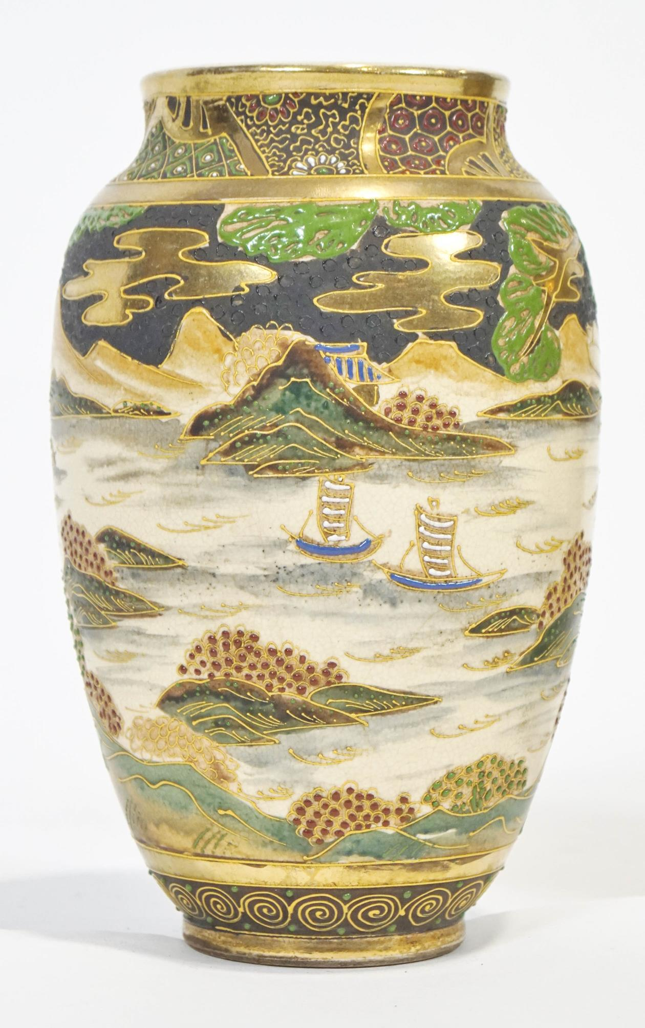 Lot 202 - A pair of satsuma style plain baluster vases, decorated with Samurai before a seascape,