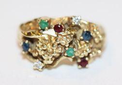 14 k Gelbgold Ring mit 2 Diamanten, 2 Rubinen, 2 Safiren und 2 Smaragden, ausgefallene Handarbeit,