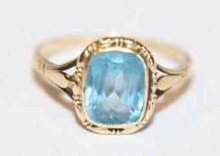 14 k Gelbgold Ring mit Blautopas, Gr. 49