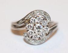 18 k Weißgold Ring mit Diamanten, ein Stein fehlt, Gr. 50, mit Originalrechnung von 1983 über DM