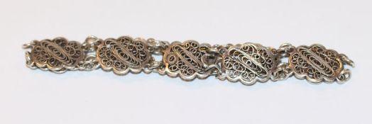 Silber Armband, filigrane Handarbeit, L 18 cm, Schloß defekt