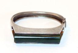 Sterlingsilber Armreif mit Jade, 72 gr, D 6 cm