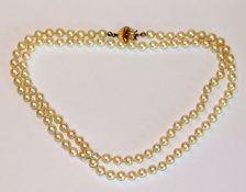 Perlenkette mit 835 Silberschließe, vergoldet, L 80 cm