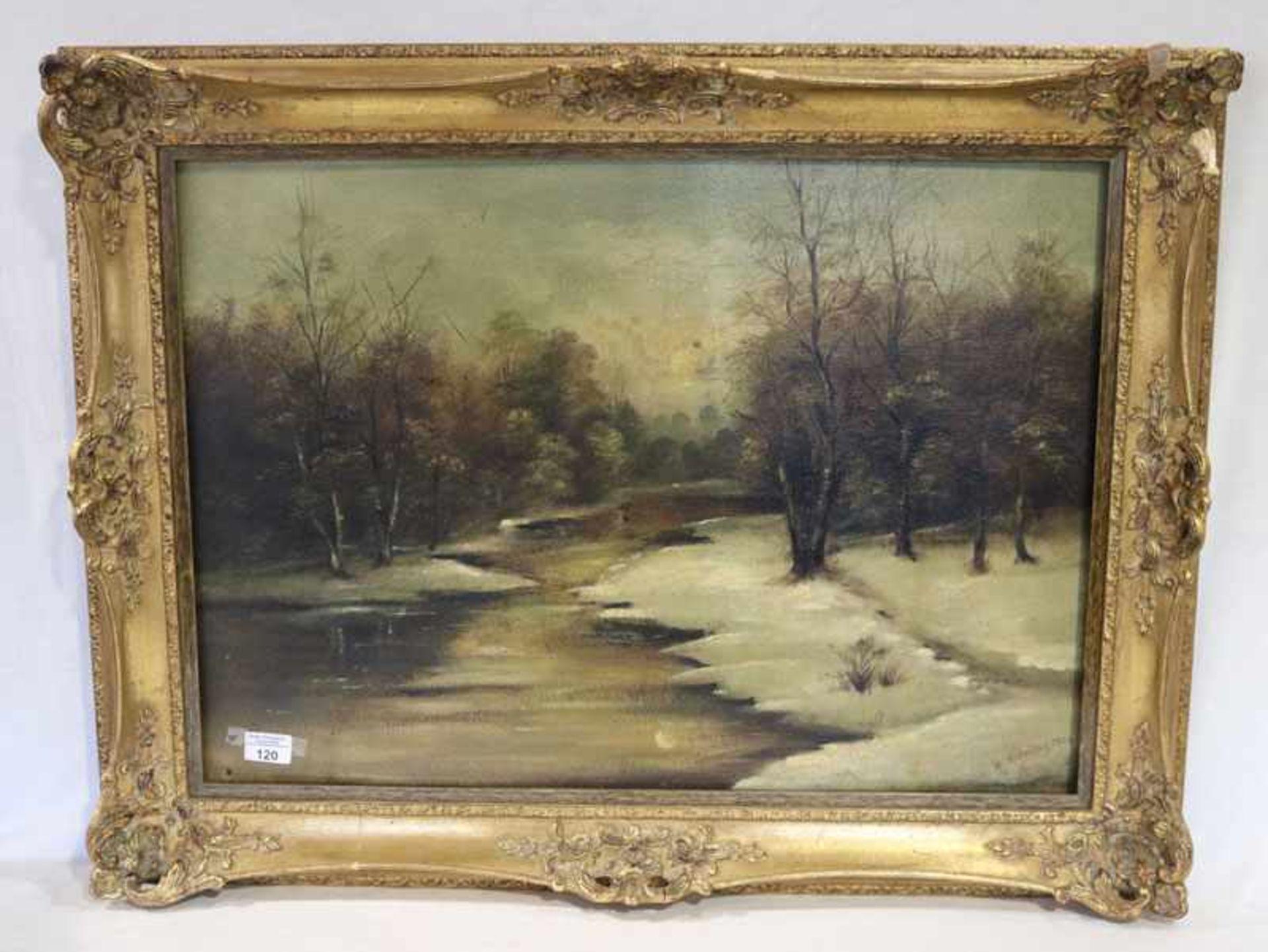 Gemälde ÖL/Hartfaser 'Bachlauf im Winter', signiert W. Herrling, 1929, gerahmt, Rahmen stark