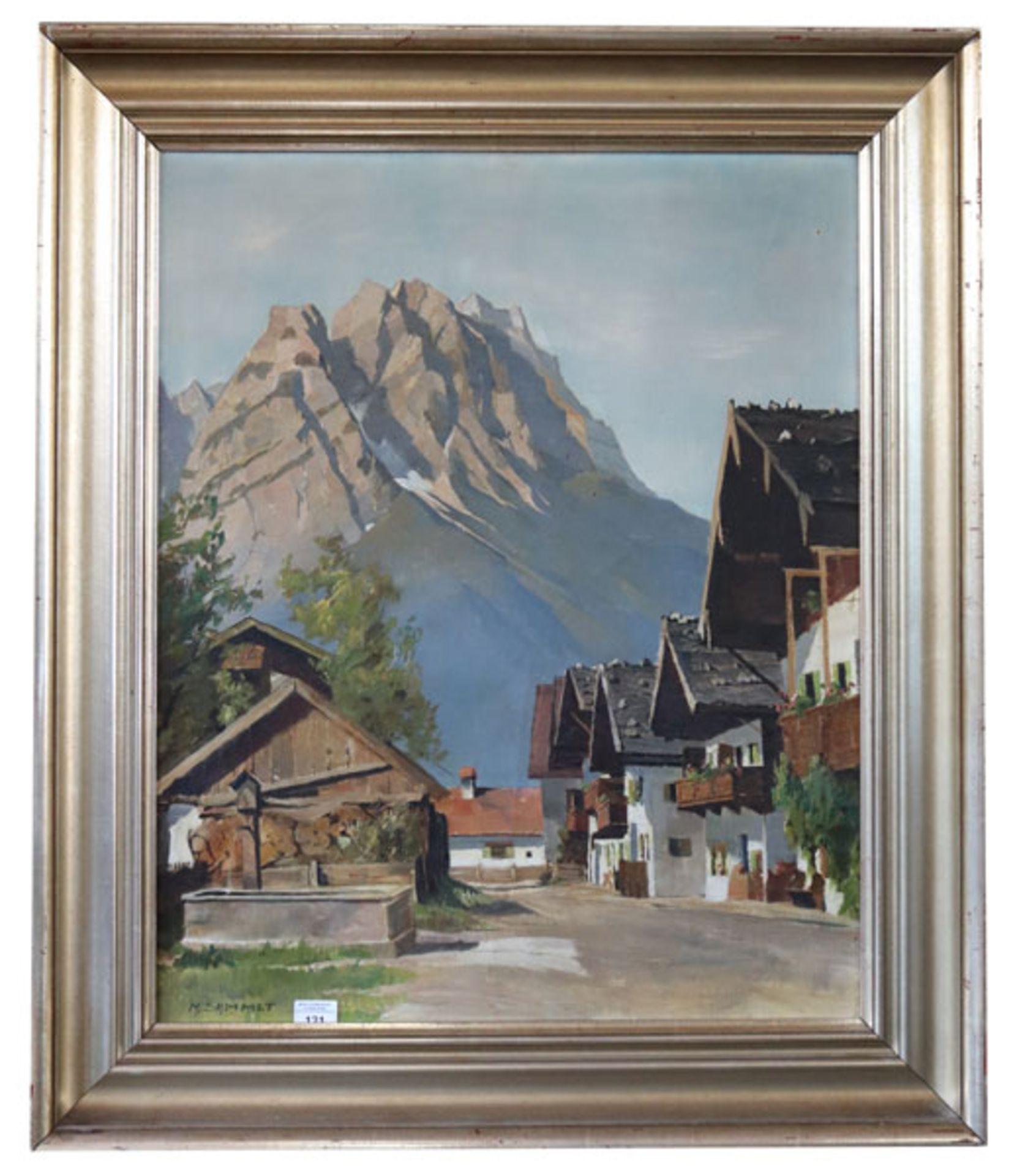 Gemälde ÖL/LW 'Frühlingsstrasse mit Waxensteinen', signiert M. Sammet, akademischer Maler, * 2.9.