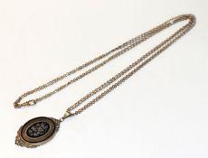 Doublé Kette, L 74 cm, mit Silber/vergoldetem Anhänger mit Emaildekor, L 6 cm, Reparaturspuren,