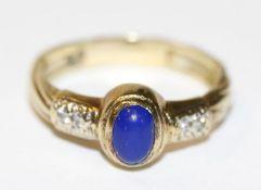 14 k Gelbgold Ring mit Lapislazuli, Gr, 61, 4,8 gr., passend zu Lot 22 und 24