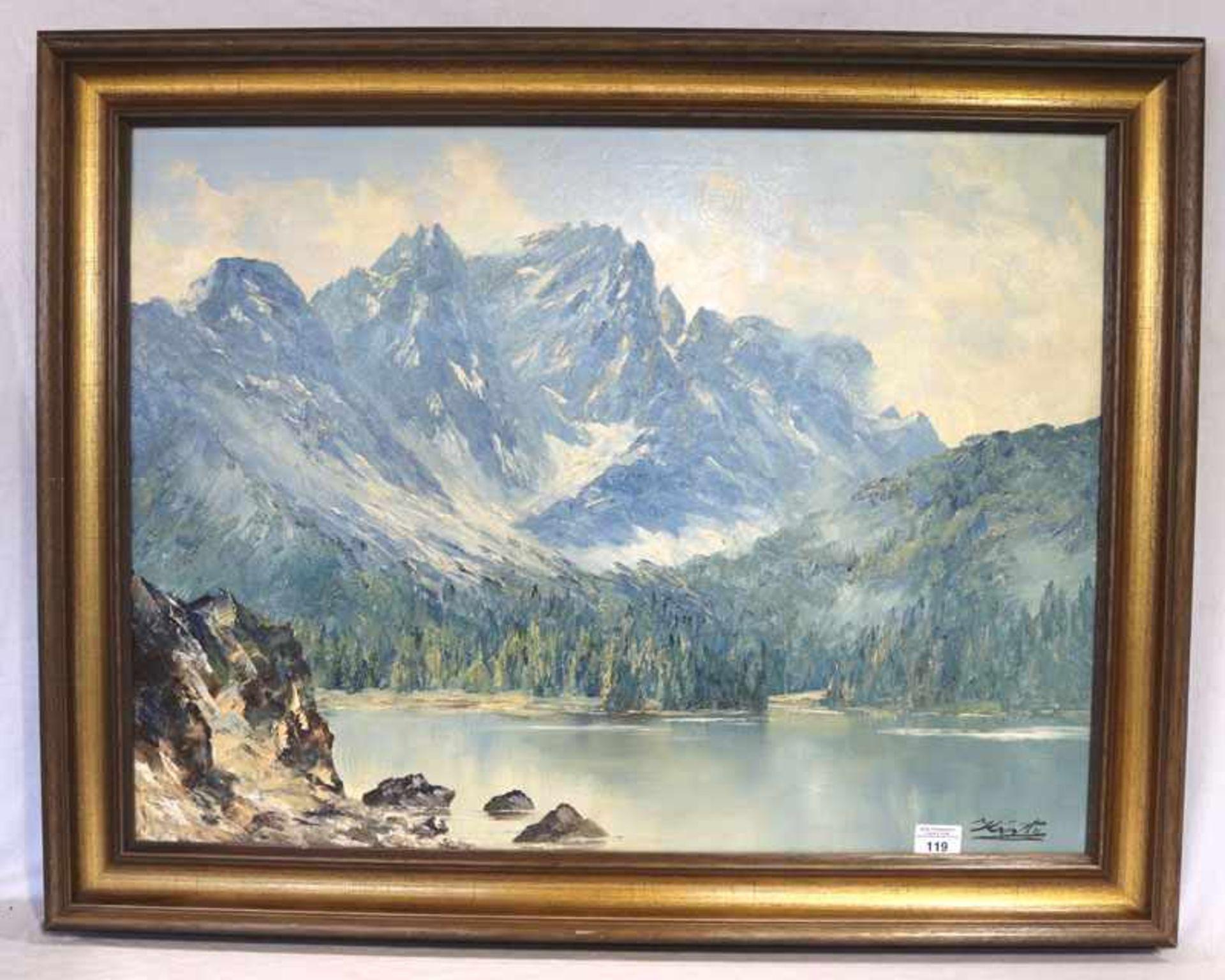 Gemälde ÖL/LW 'Eibsee', signiert Kiste, Georg, * 11.7.1908 Garmisch-Partenkirchen + 1997 München,