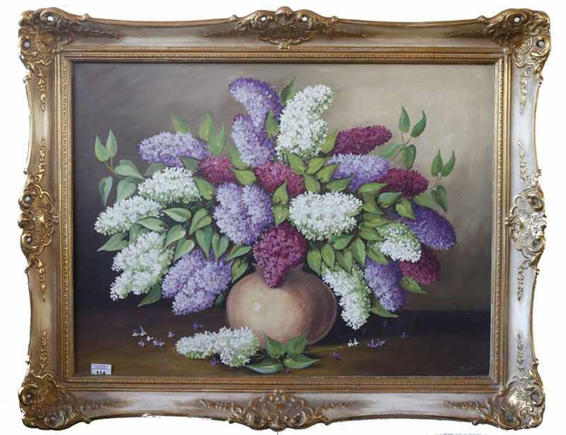 Gemälde ÖL/LW 'Fliederstrauß in Vase', signiert Josi ?, gerahmt, Rahmen leicht beschädigt, incl.