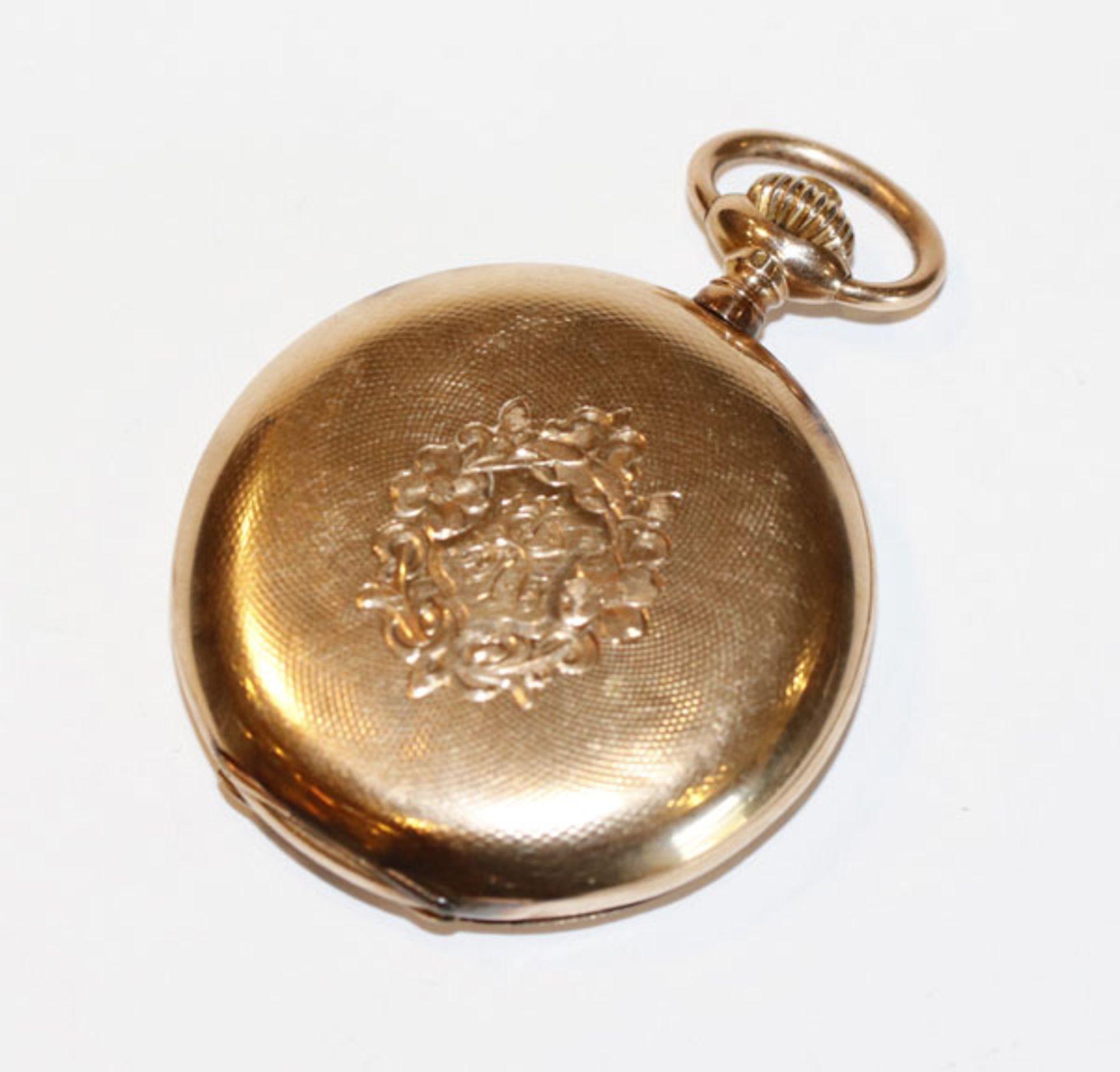 Omega Sprungdeckel Taschenuhr, 14 k Gelbgold, fein graviertes Gehäuse, geschraubte Chatons,