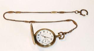 Drusus Sprungdeckel Taschenuhr, vergoldet, graviertes Gehäuse, Glas fehlt, Funktion nicht geprüft,