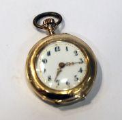 14 k Gelbgold Damen-Taschenuhr, rückseitig graviert, intakt, D 2,8 cm