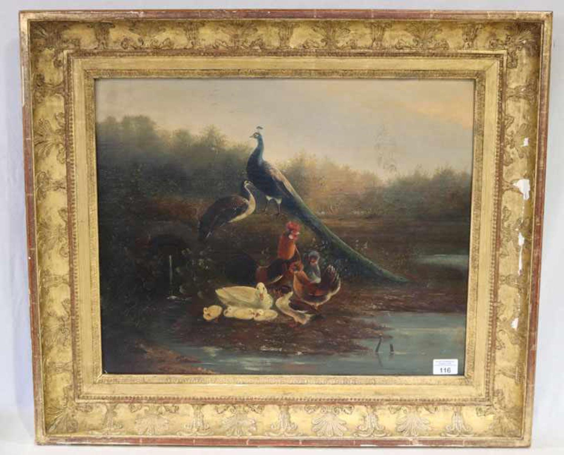 Gemälde ÖL/Hartfaser 'Federvieh am Wasser', signiert Knipp, Bildoberfläche teils beschädigt,