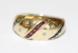 18 k Gelbgold Ring mit 4 Diamanten, Rubinen, Smargaden und Safiren, 6 gr., Gr. 53