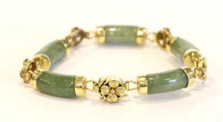 14 k Gelbgold Armband mit Jade, L 16 cm