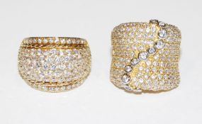 2 ausgefallene Sterlingsilber/vergoldete Ringe mit Glassteinen, Gr. 56