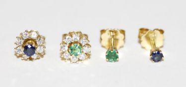 Paar 18 k Gelbgold Ohrstecker mit Diamantkranz, Safir und Smaragd sind auswechselbar, klassische