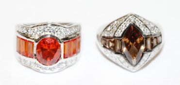 2 ausgefallene Sterlingsilber Ringe mit Glassteinen, Gr. 56/57