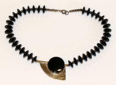 Ausgefallene Collierkette, Silber/Onyx, L 38 cm