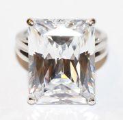 Großer Sterlingsilber Ring mit Glasstein, Gr. 57