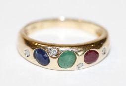 14 k Gelbgold Ring mit 4 Diamanten, Rubin, Smaragd und Safir, 2,9 gr., Gr. 53