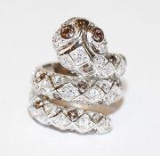 Sterlingsilber Ring in Schlangenform mit Glassteinen besetzt, Gr. 52
