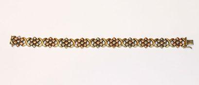 14 k Gelb- und Roségold Armband, in Floralmuster, teils mattiert, 21,5 gr., L 20 cm