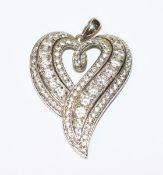 Sterlingsilber Herz-Anhänger mit Glassteinen, L 4,5 cm