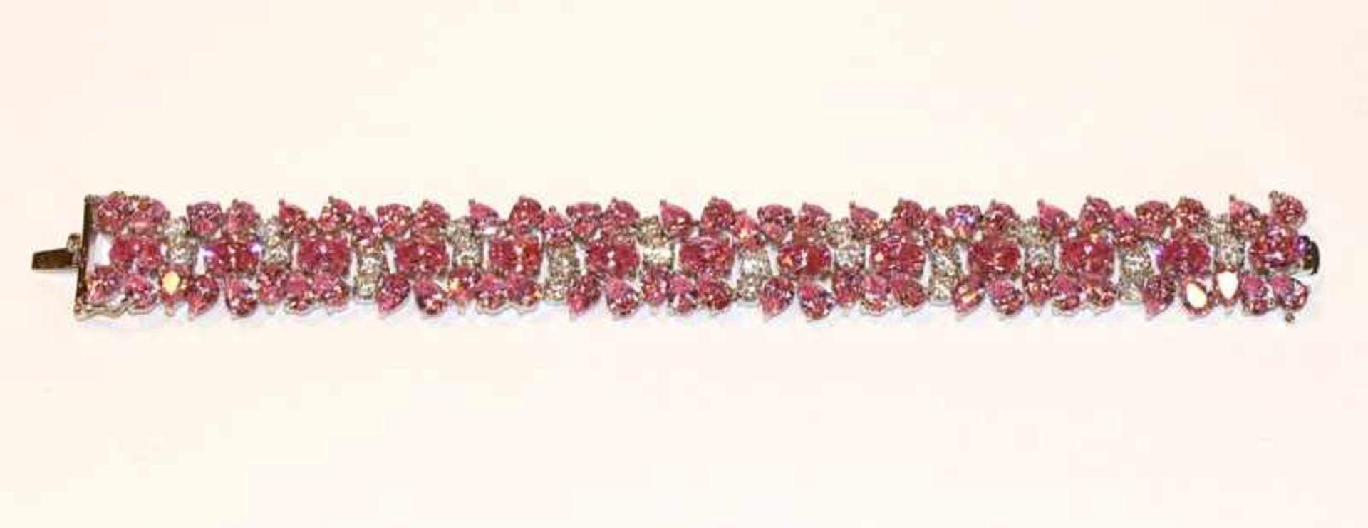 Los 50 - Sterlingsilber Armband mit klaren und rosa Glassteinen, 61 gr., L 20 cm