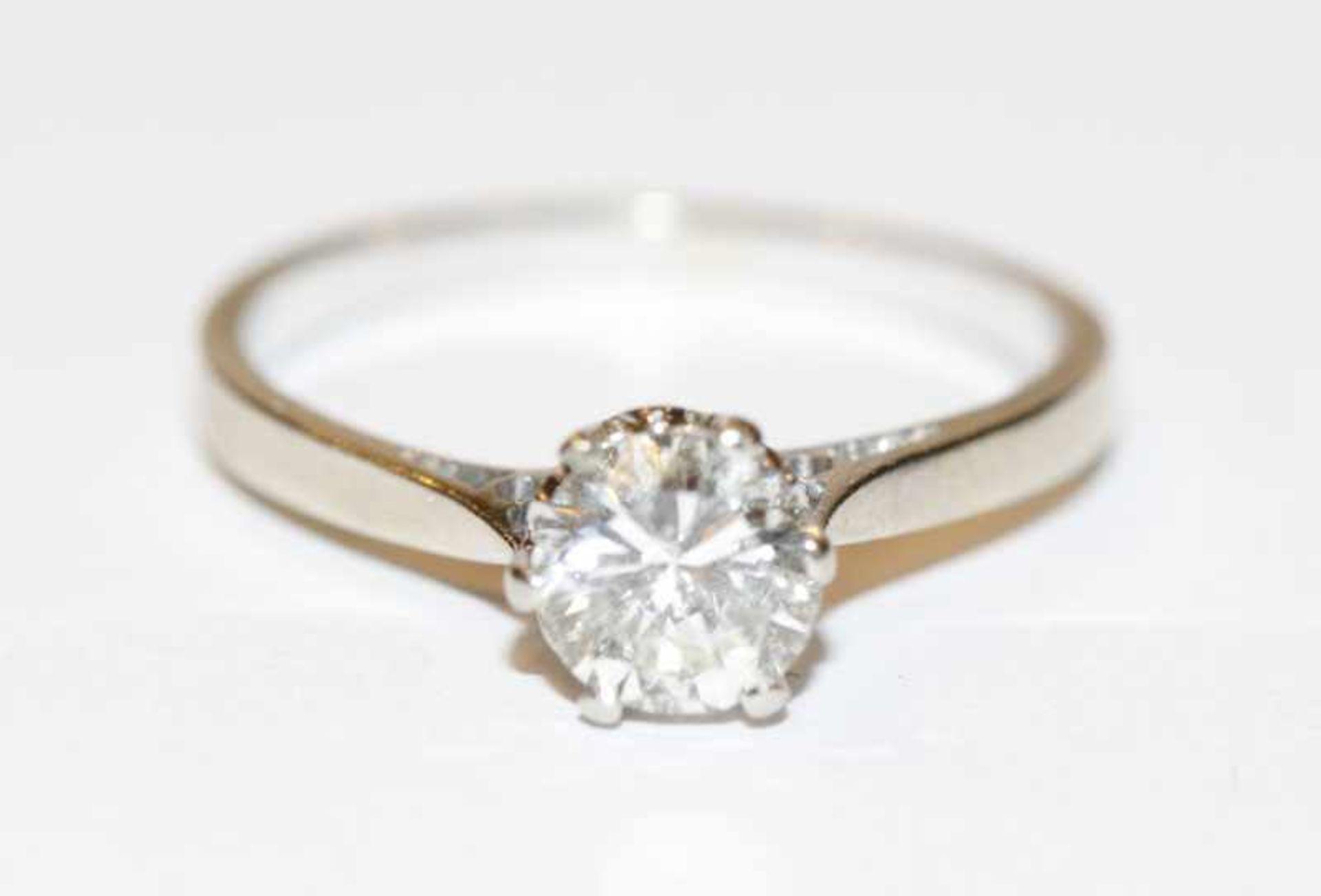 Los 38 - 14 k Weißgold Solitär Diamantring, ca. 0,75 ct. w/si, Gr. 54