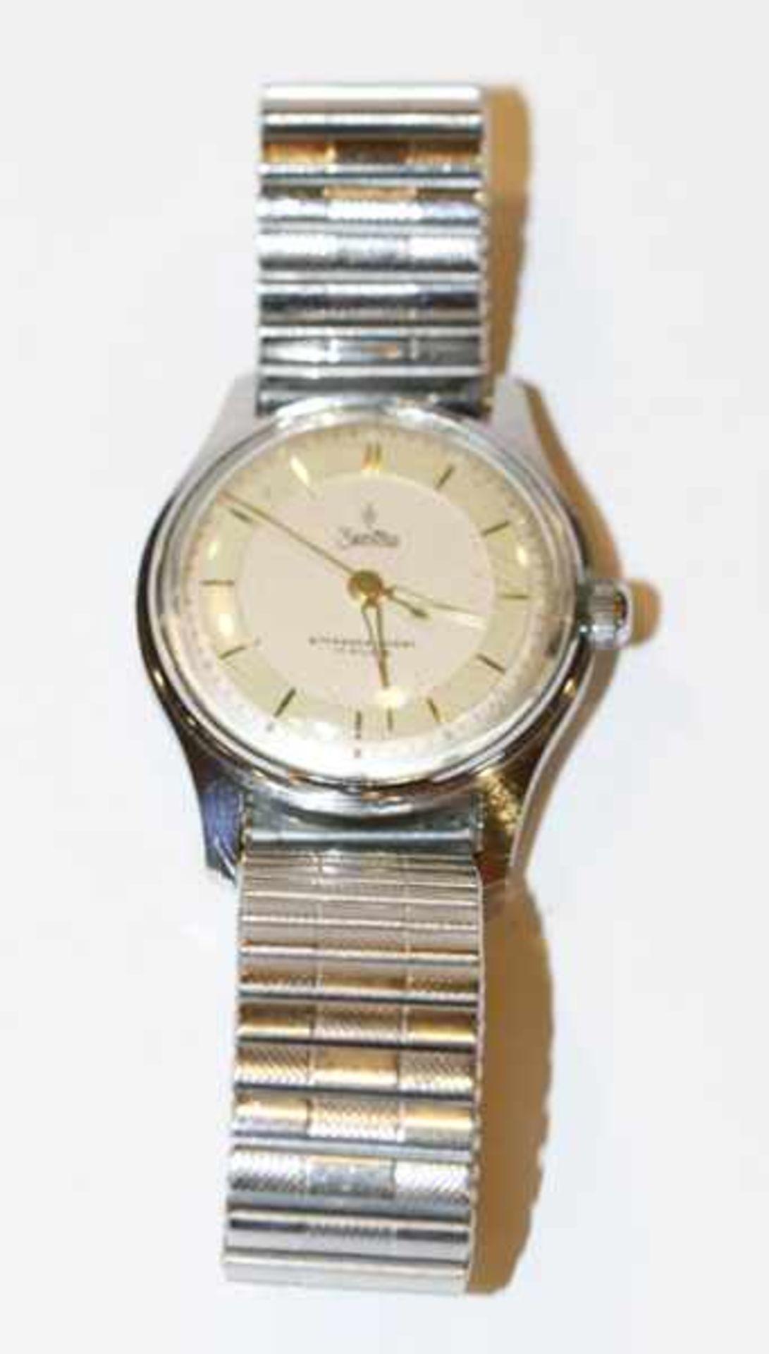 Los 9 - Zentra, Schweiz, Armbanduhr, intakt, an Fixo-Flex Armband, Tragespuren
