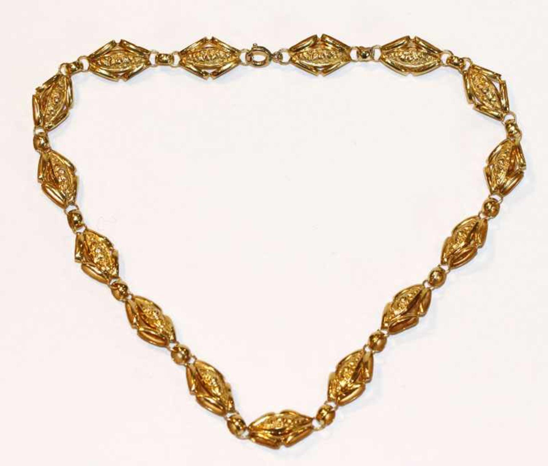 Los 52 - Dekorative 14 k Gelbgold Kette, 19. Jahrhundert, 12,6 gr., schöne Handarbeit, L 38 cm