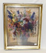 Gemälde Pastell 'Blumenstillleben in Vase', signiert B. Weyerer, 1926, unter Glas gerahmt, Rahmen