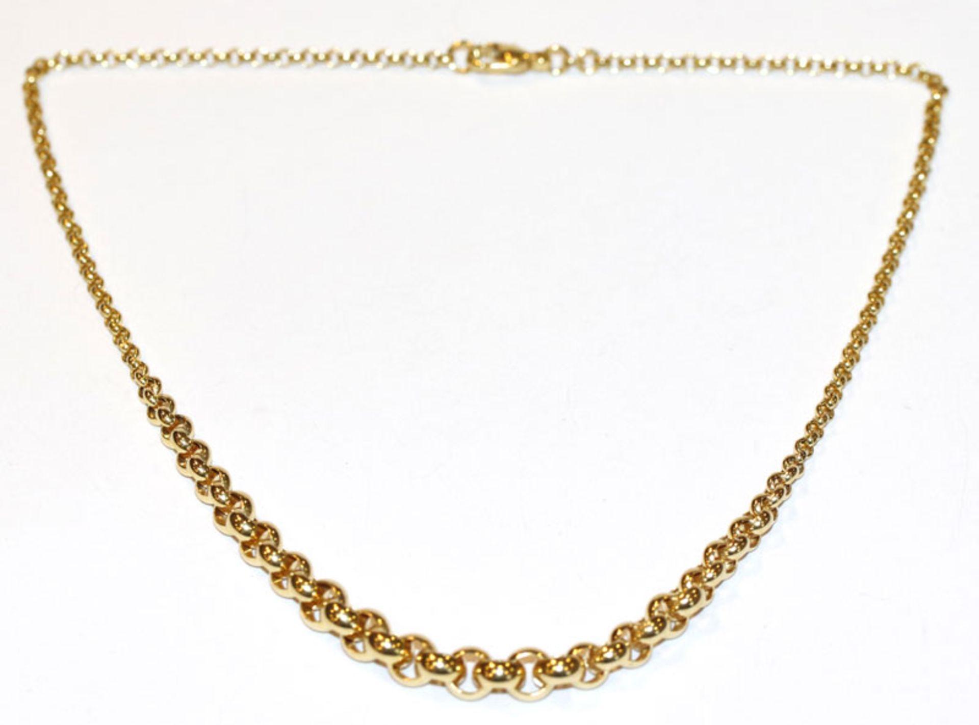14 k Gelbgold Collierkette in Verlaufform, 16 gr., L 40 cm